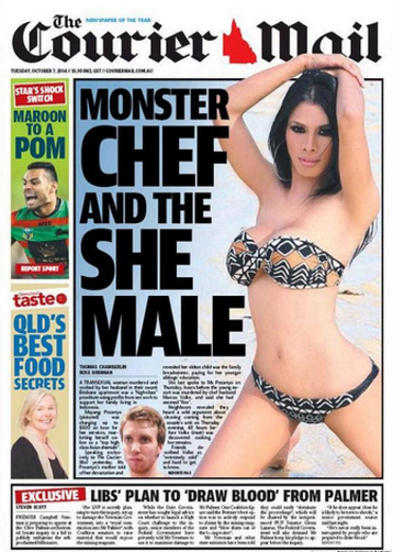 The Courier Mail's notorious coverage of the murder of transgender sex worker Mayang Prasetyo.